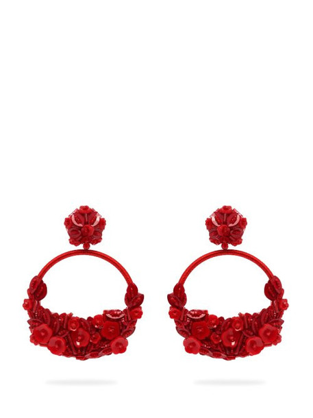 Oscar De La Renta - Floral Embellished Clip On Earrings - Womens - Red