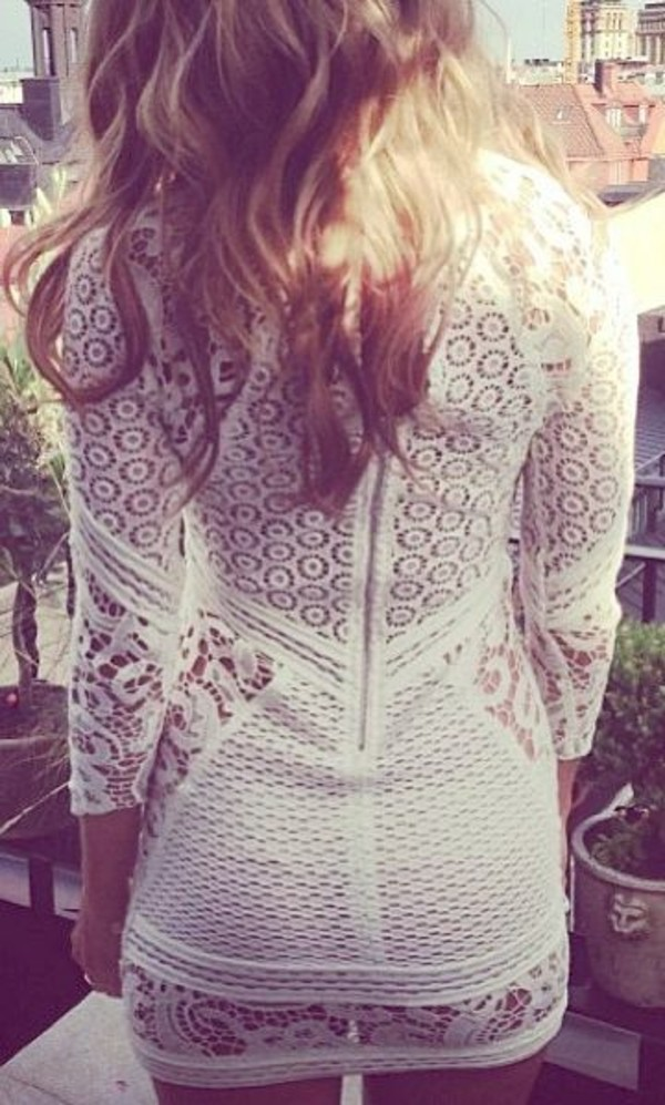 dress lace bodycon zip see through dress long sleeves white dress