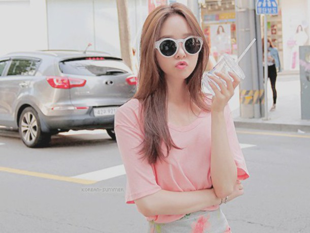 top kfashion cfashion jfashion korean fashion kawaii shorts pastel pink sunglasses