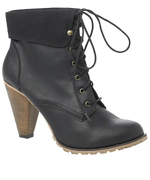 Heeled lace up boot