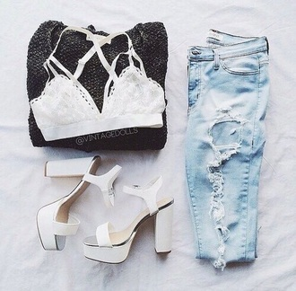top bralette white bralette ripped jeans boyfriend jeans shoes girl chic high heels urban streetstyle cardigan jeans