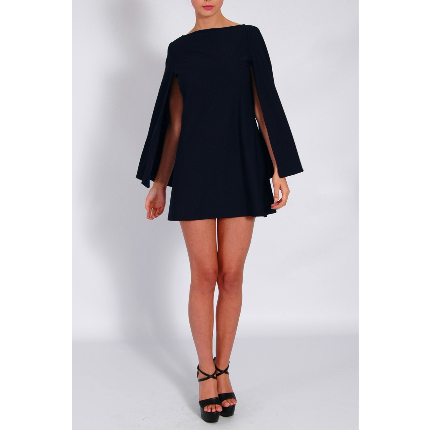 Jessica Wright Wears Navy Cape Sleeve Shift Dress From Rare London