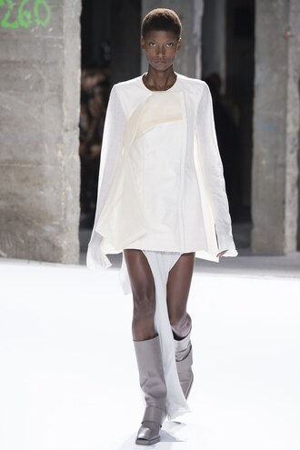 blouse tunic boots rick owens paris fashion week 2016 skirt