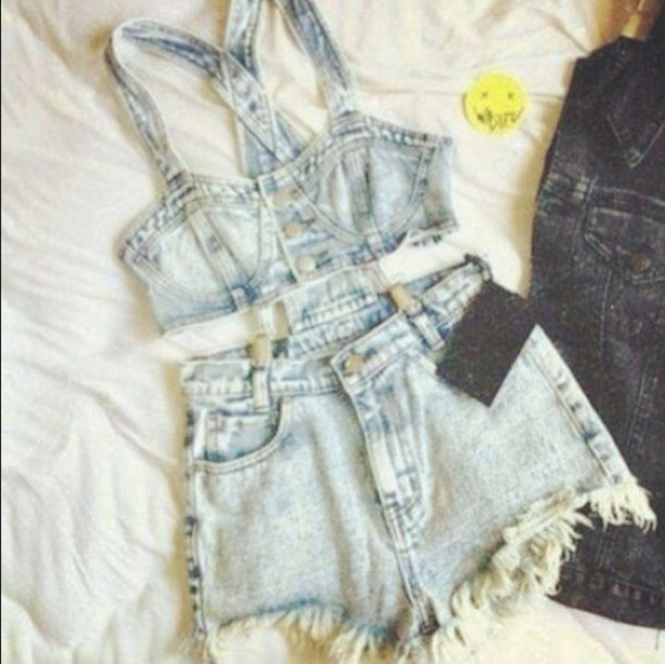 jumpsuit jeans shorts bustier top