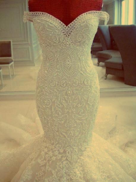 White Rhinestone Wedding Dress