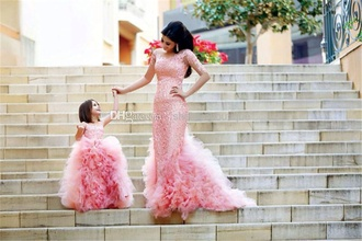 dress pink lace with sequins mother and child