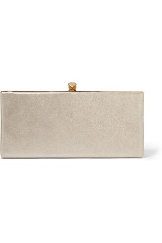 metallic clutch suede gold beige bag