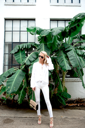 krystal schlegel,blogger,jeans,shoes,bag,white top,long sleeves,white jeans,chanel,chanel bag,all white everything,nude bag,top,white blouse,blouse,lace up top,aviator sunglasses,sunglasses,sandals,sandal heels,high heel sandals,nude sandals,spring outfits