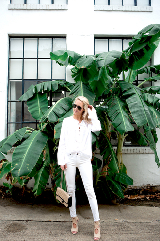 krystal schlegel blogger jeans shoes bag white top long sleeves white jeans chanel chanel bag all white everything nude bag top white blouse blouse lace up top aviator sunglasses sunglasses sandals sandal heels high heel sandals nude sandals spring outfits