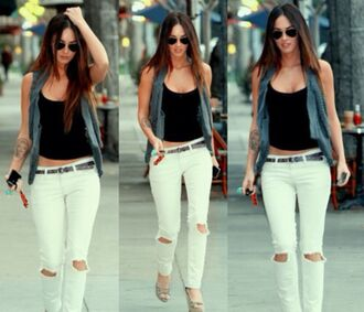 jeans white ripped knees jeans megan fox t-shirt