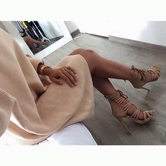 dress beige dress beige nude dress nude heels nude high heels sweater dress