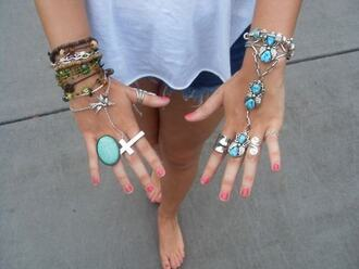 jewels jewelry bracelets ring nail polish fabulous cross ring boho bohemian style outfit summer cross turquoise boho jewelry silver silver jewelry silver ring hand chain turquoise jewelry knuckle ring rings and tings stacked bracelets