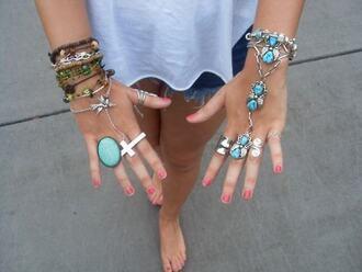 summer jewels jewelry ring bracelets nail polish fabulous cross ring boho bohemian style outfit cross turquoise boho jewelry silver silver jewelry silver ring hand chain