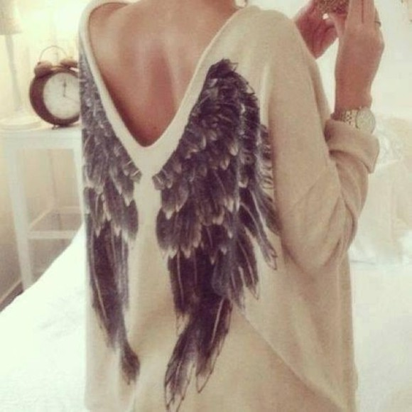 knit sweater cream feather backdetail back