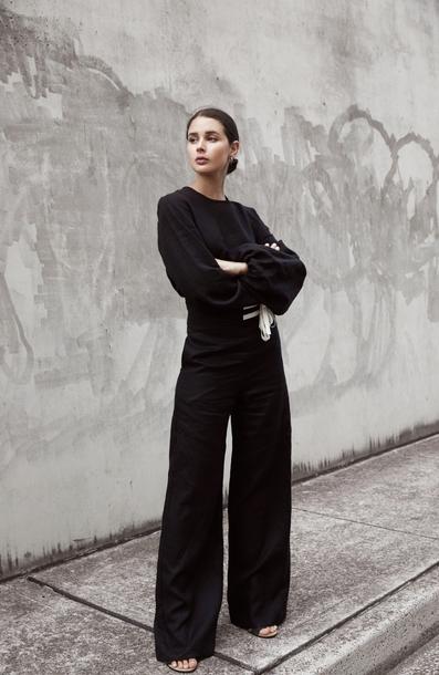 pants tumblr black pants wide-leg pants top black top all black everything