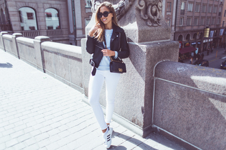 kenza blogger sunglasses adidas superstars white jeans leather jacket