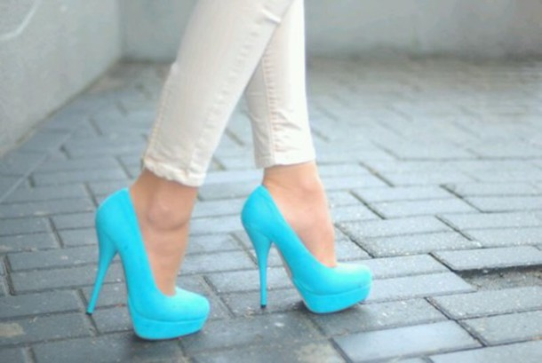 shoes heels sky blue