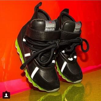 shoes neon reebok black dope