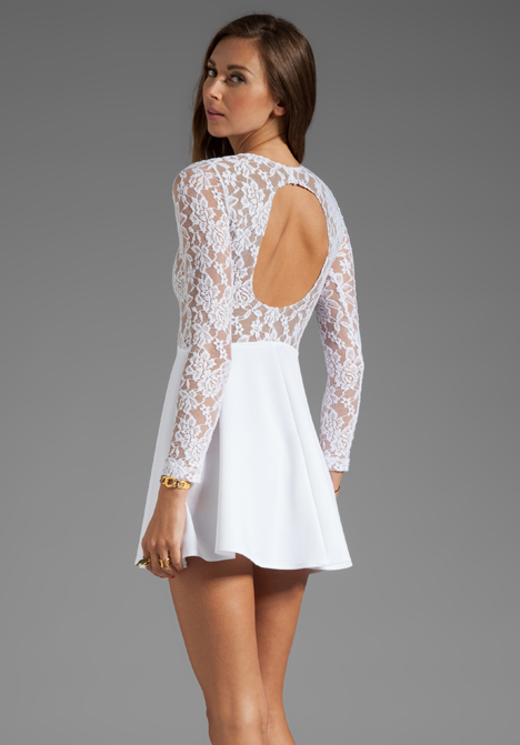 Avery Long Sleeve Dress in White Lace - Boulee