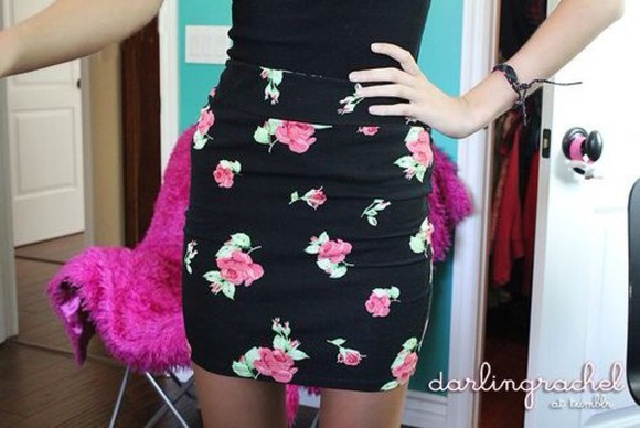 skirt floral skirt black