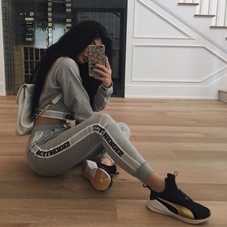 sweater set tracksuit grey sportswear sporty comfy kylie jenner kardashians cool outfit
