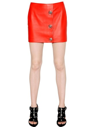 skirt mini skirt mini leather red