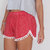 Pom Pom Shorts - Red and White Polkadot Print - White Pom Poms