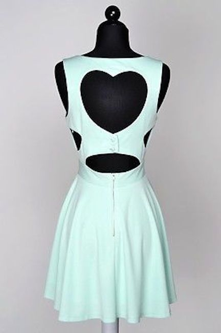 Mint Heart Cut Out Back Mini Dress Cutout Skater Skirt Flare Scuba Tobi Sz 6 | eBay