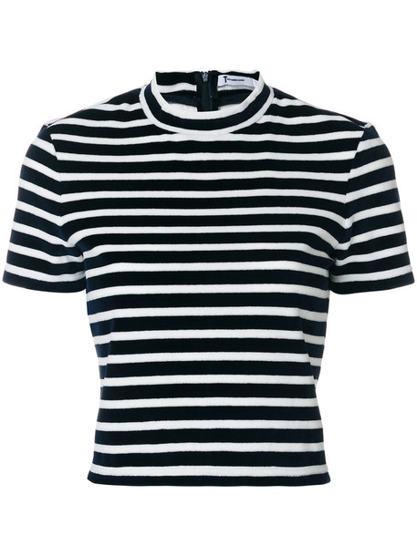 T By Alexander Wang - horizontal stripe T-shirt - women - Cotton/Polyester - XS, Blue, Cotton/Polyester