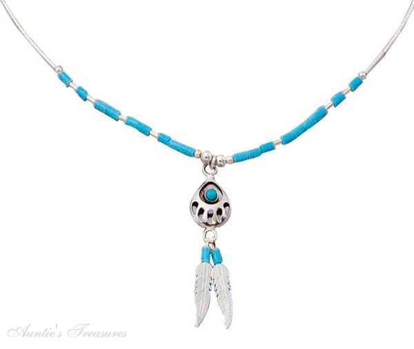 Sterling silver choker necklace turquoise bearpaw eagle feather