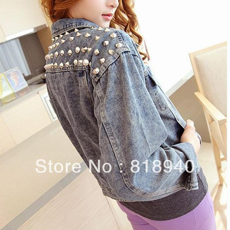 Stud/Spike Denim Jacket Button Coat Jean Biker Top Punk Vintage Women/Lady Blue-in Basic Jackets from Apparel & Accessories on Aliexpress.com