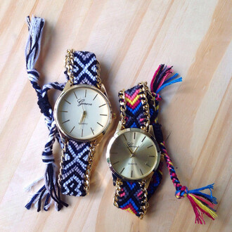 jewels watch friendship fun colorful black white blue yellow pink friends gold braided