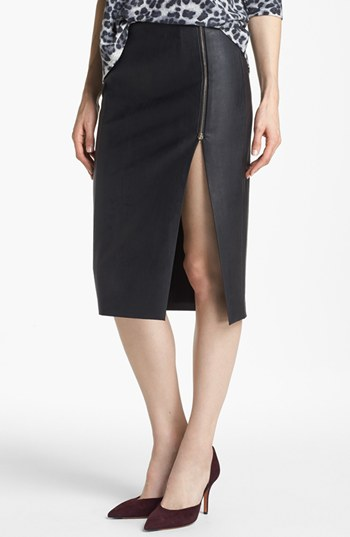 Slit Front Faux Leather Pencil Skirt | Nordstrom
