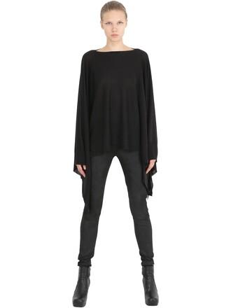 poncho knit wool black top