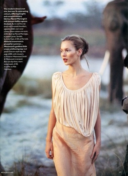 kate moss blouse dress evening gown coral cream dress