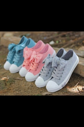 shoes pink blue grey pastel bows bow girly sneakers
