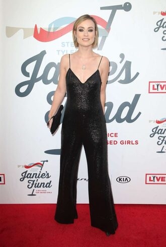 jumpsuit pants top olivia wilde black black top all black everything glitter