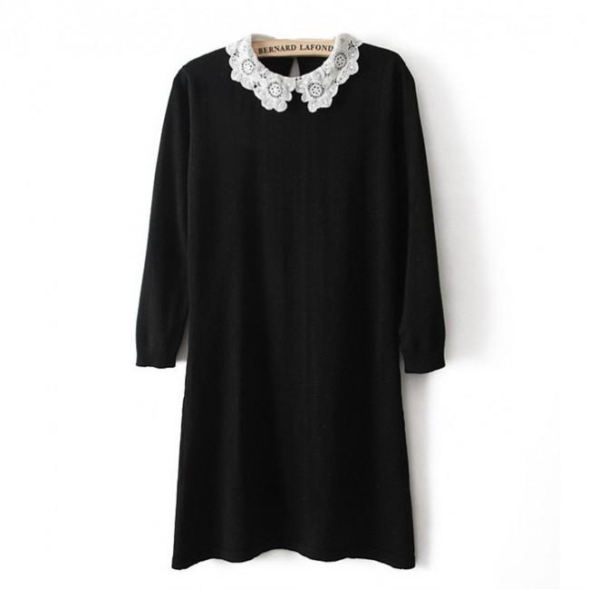Crochet collar knit dress