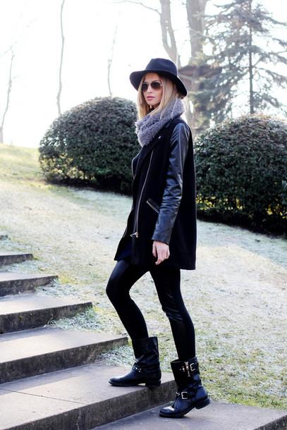 beauty fashion shopping blogger fedora black coat black boots leggings shoes coat hat sunglasses scarf jewels