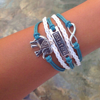 jewels sister elephant bracelet infinity braided link gift ideas layered stacked jewelry
