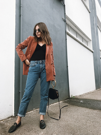 jacket tumblr blazer fall outfits denim jeans blue jeans top black top shoes loafers black loafers bag