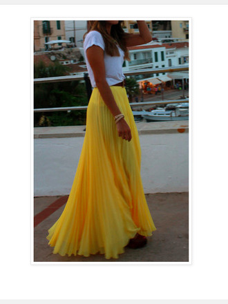 skirt yellow maxi skirt yellow yellow skirt hippie hipster boho girly high waisted vintage red lime sunday