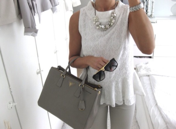 bag white tank top lace top tank top