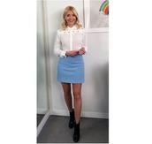 skirt,holly willoughby,blue skirt,white blouse,bee