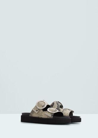 shoes buckles flatforms sandals snake print