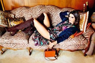 dress maxi dress slit dress boots purse