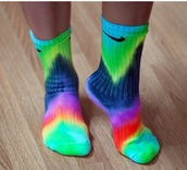 socks,tie dye,tie dye socks,nike,wolf gang,odd future