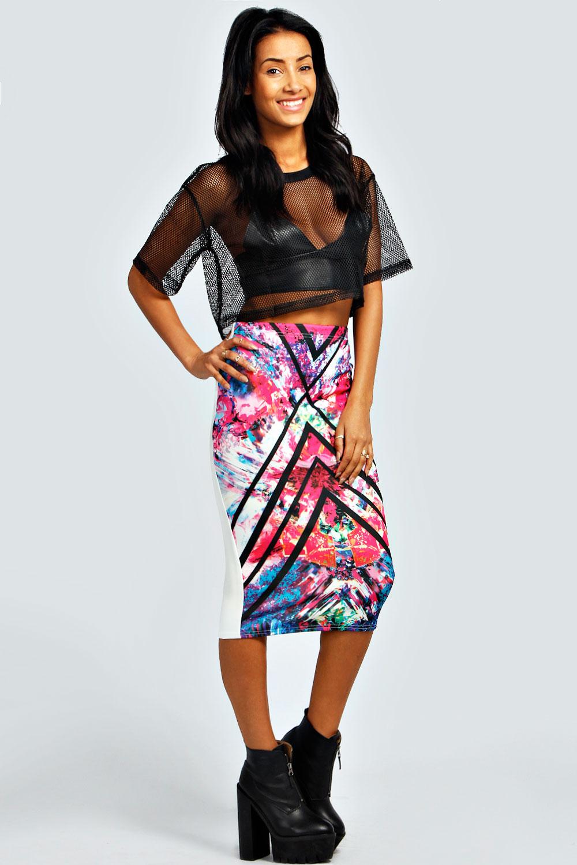 Danika Digital Print Scuba Pencil Skirt
