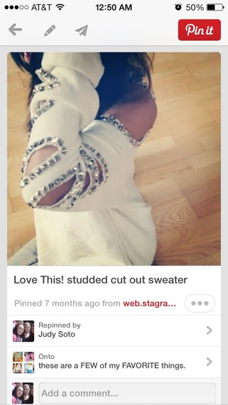 long sleeve cut-out sweater white studded edgy