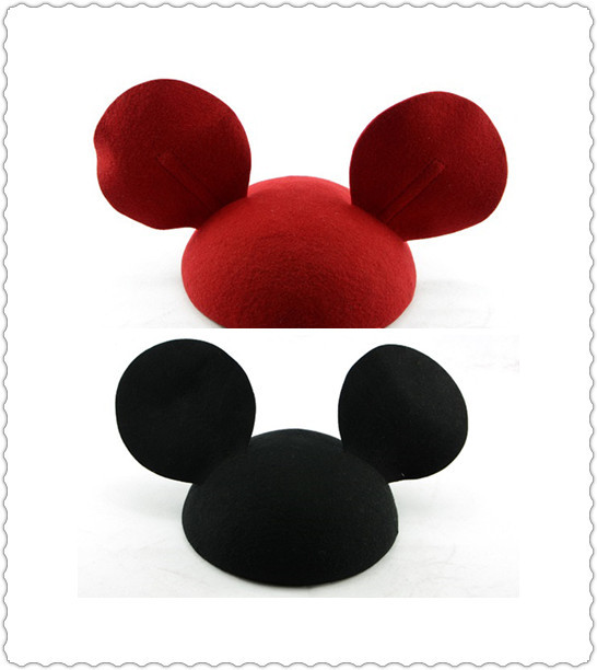 New fashion! pure wool hat with big ears of mickey mouse mickey streets of little devil cat ears small cap wh050